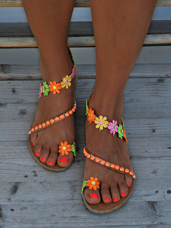 Holiday Flat Heel Spring/fall Flower Sandals