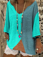 3/4 Sleeve V Neck Color-Block Outdoor T-Shirt & Blouse