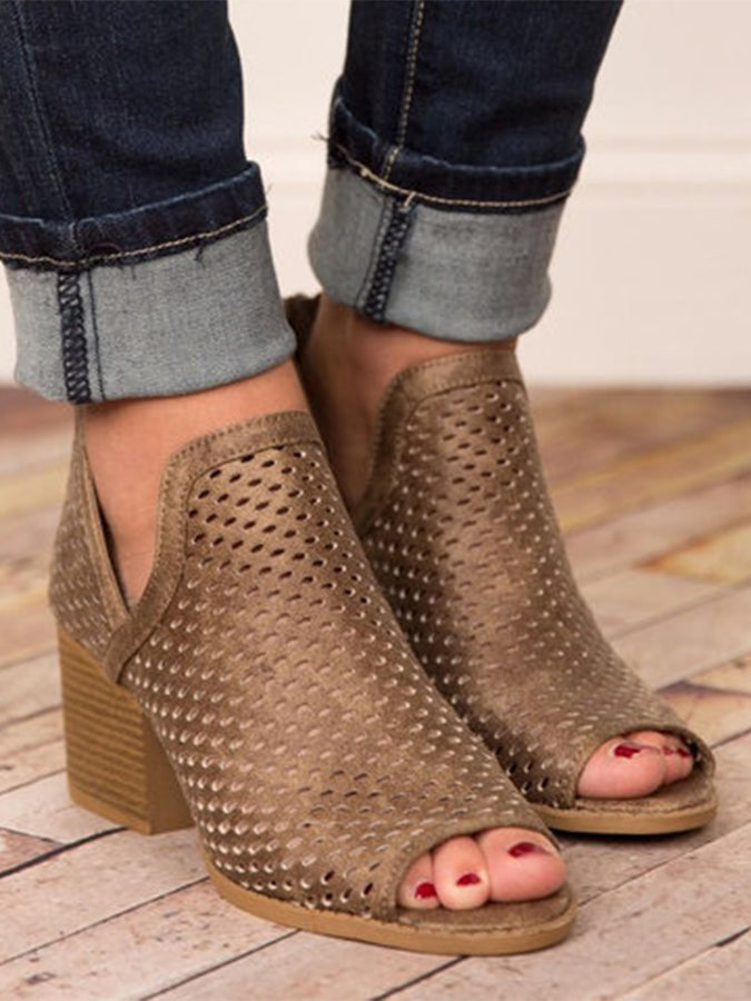 Chunky Heel Solid Holiday  Sandals