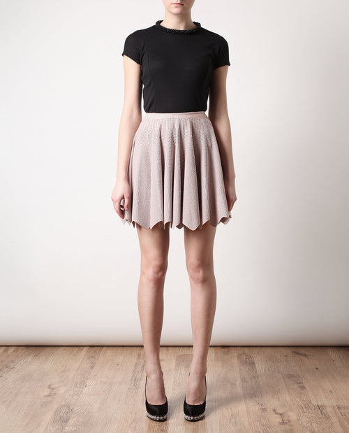 Perforated Stretch Knit Skirt