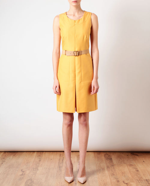 Belted Cotton-silk Pencil Dress