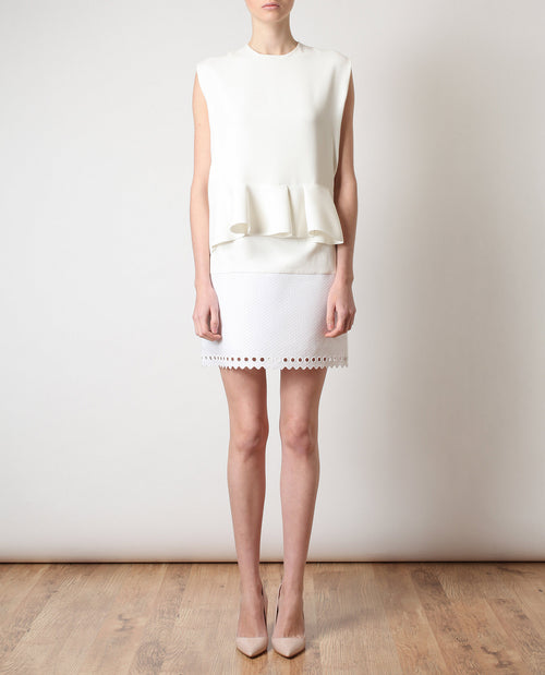 Textured Cotton-blend Miniskirt