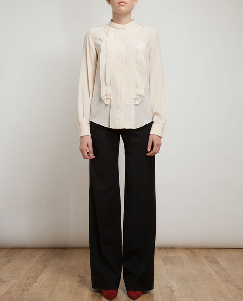 Ruffle Placket Silk Shirt