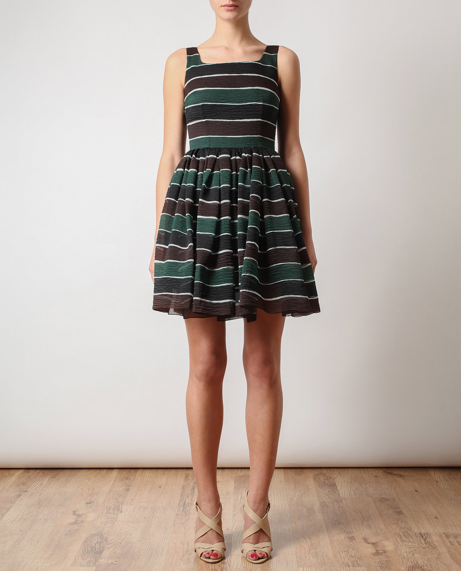 Striped Silk Organza Dress