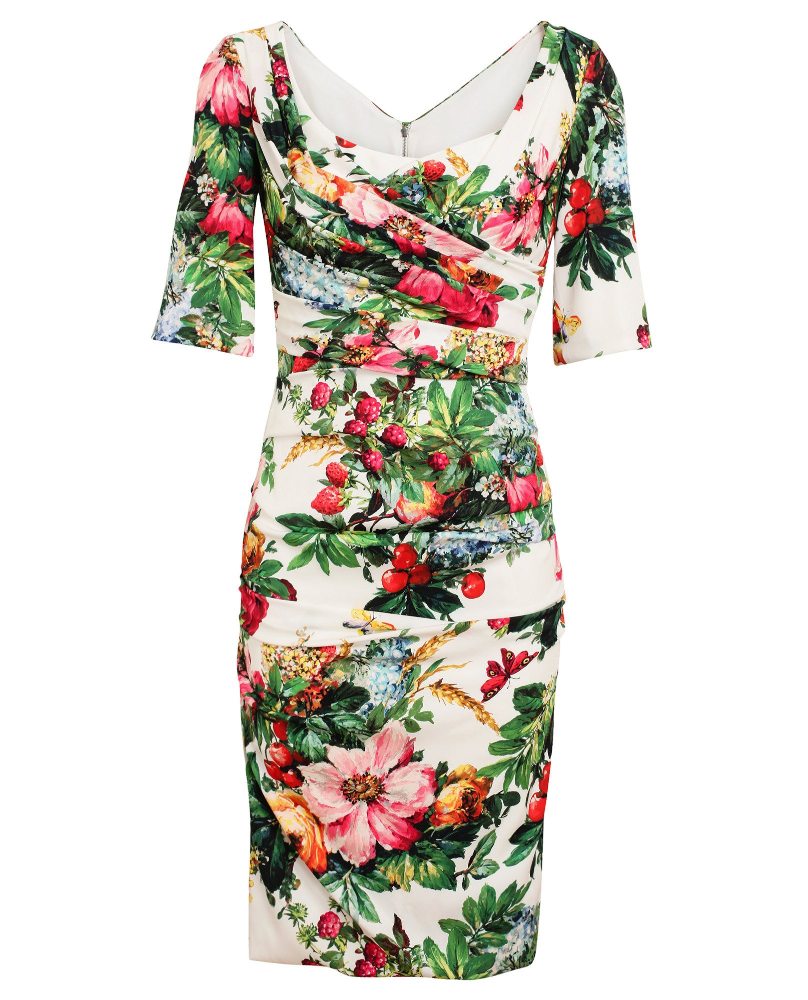 Floral Printed Stretch Silk Dress