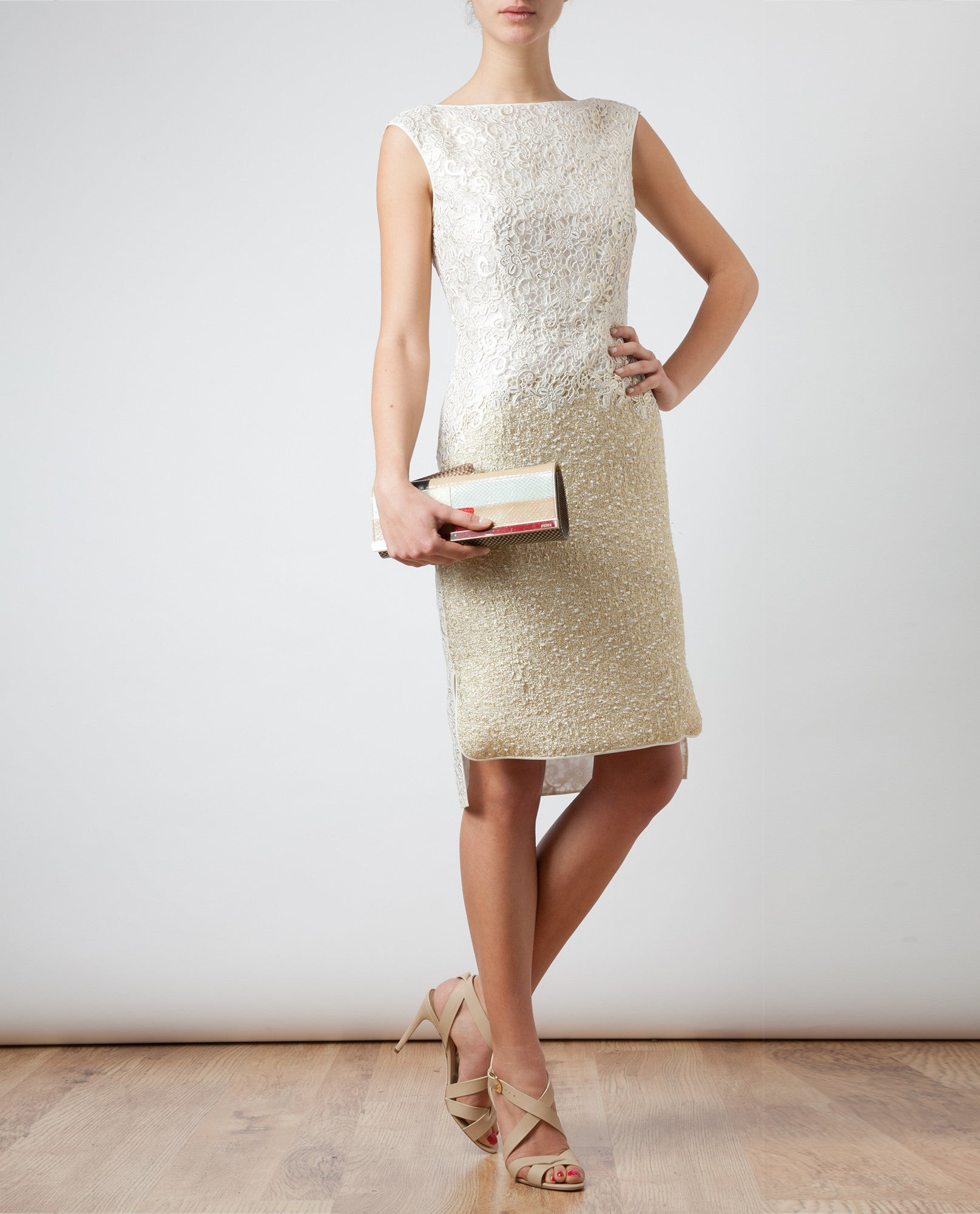 Macrame Lace and Lurex Tweed Dress