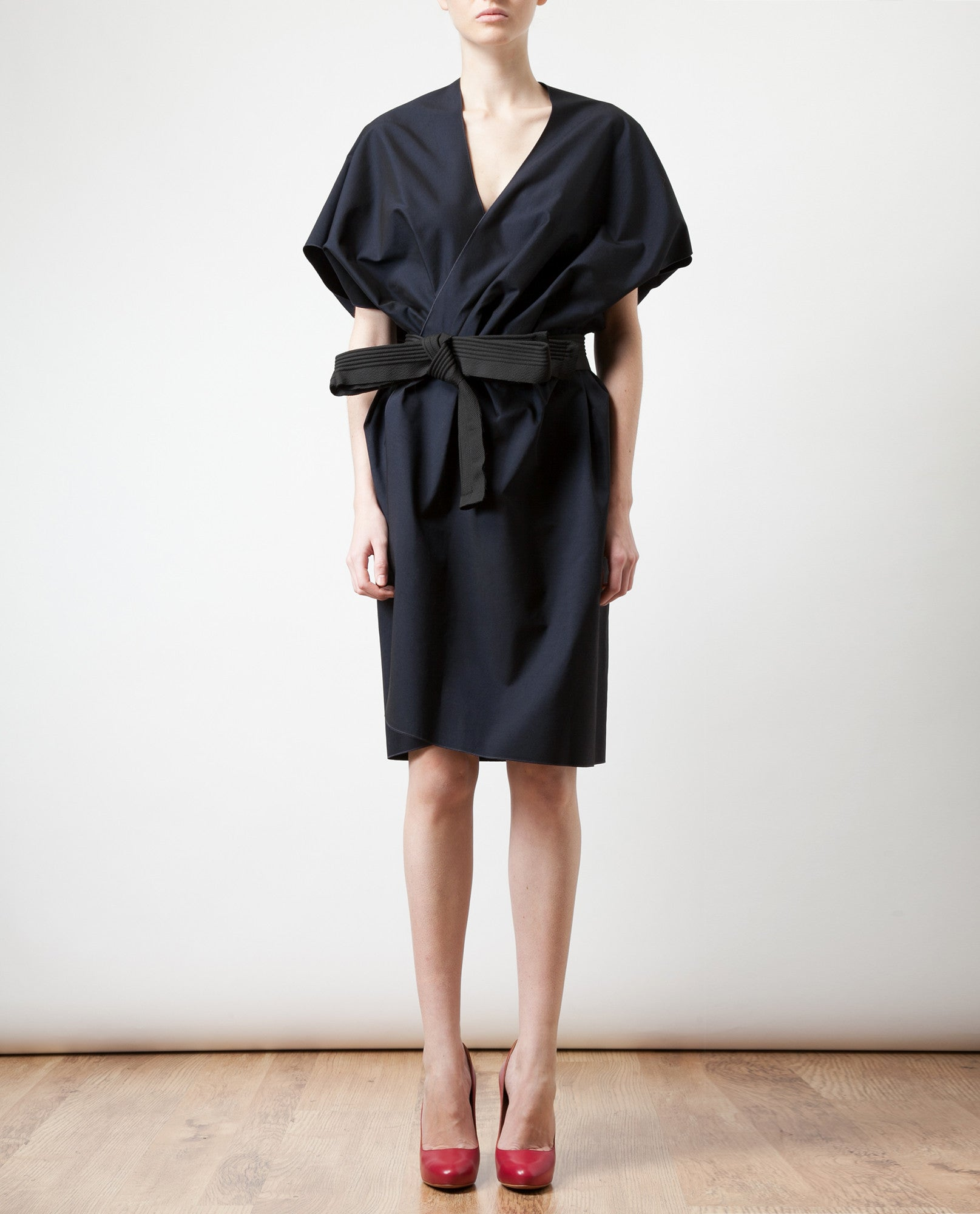 Belted Cotton-silk Jacket Dress