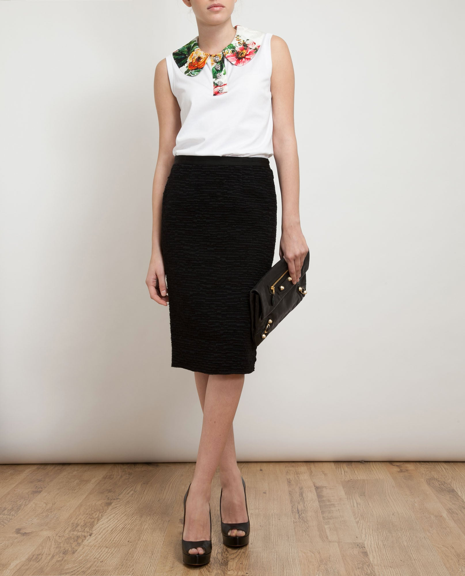 Boucle Cotton-wool Pencil Skirt