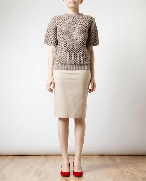 Virgin Wool and Stretch Knit Pencil Skirt