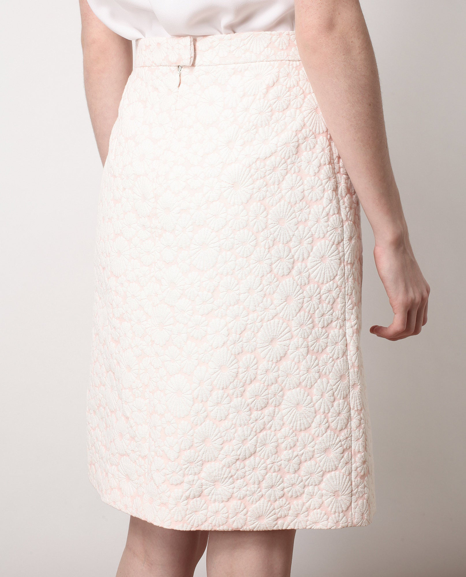 Floral Jacquard Cotton-silk Skirt