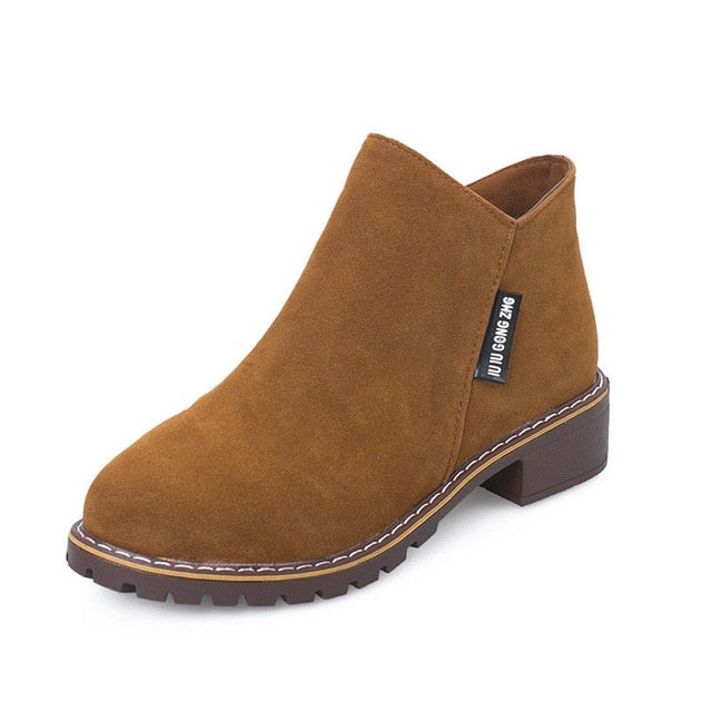Autumn Winter Boots With Classic Zipper