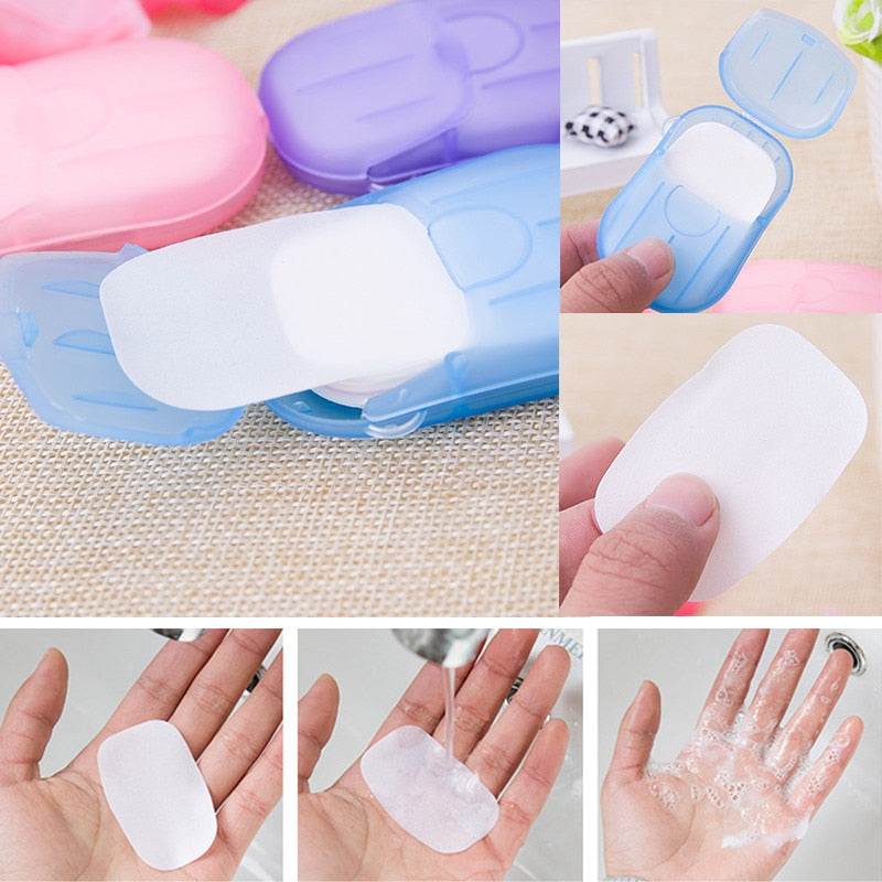 20pcs/bag Mini Disposable Washing Hand Soap Paper Box