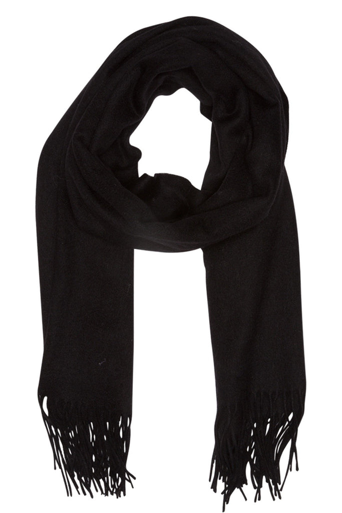 Black scarf in 100% soft wool