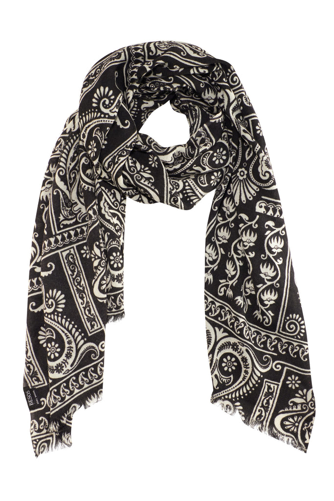 Black and white shawl / scarf with fine ornamental print