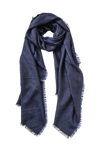 Blue scarf with an elegant touch of black