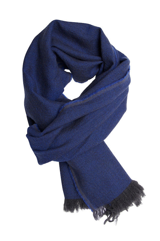 Blue melange scarf in fine wool