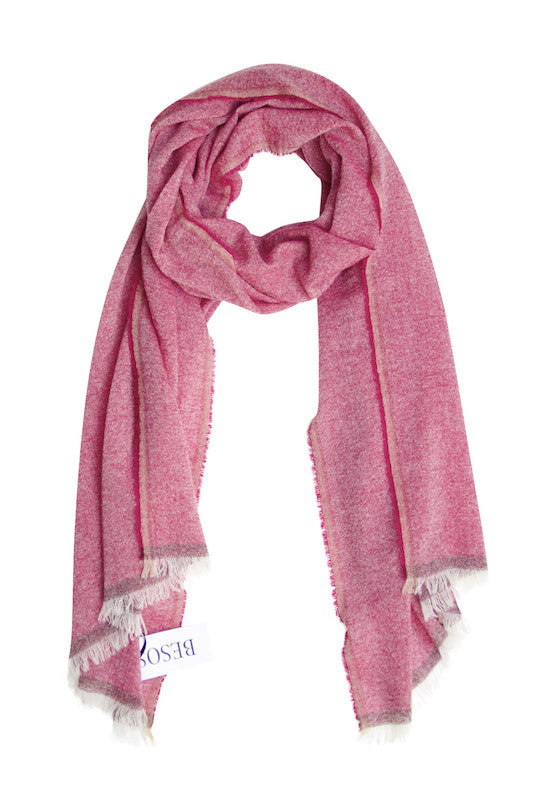 Cashmere scarf in beautiful fuchsia melange