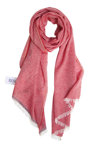 Cashmere scarf in beautiful red melange