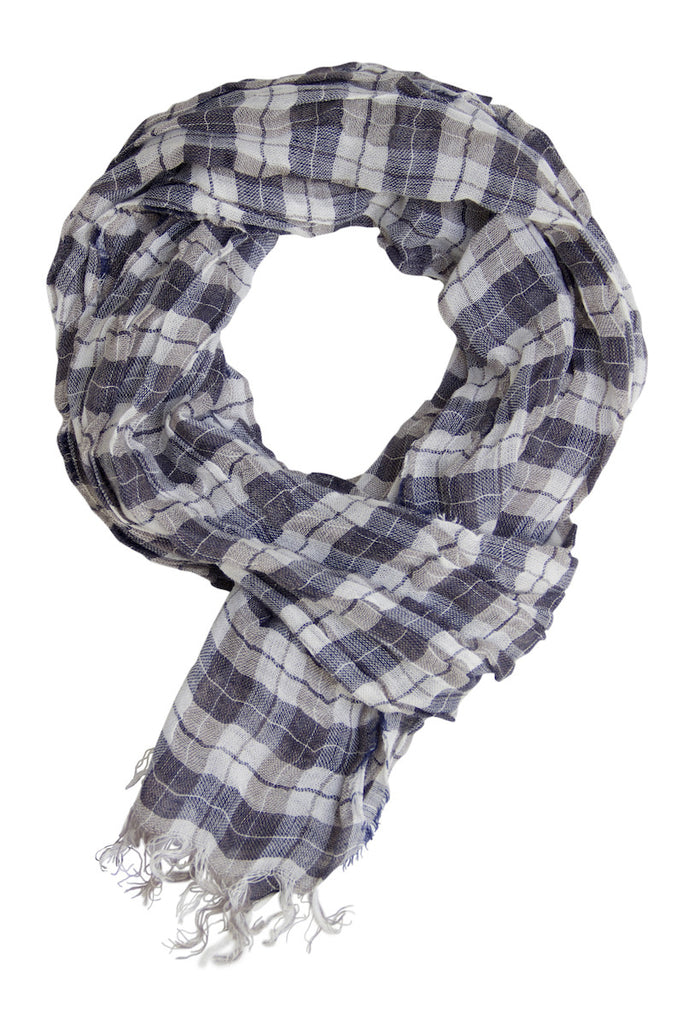 Casual blue checked scarf