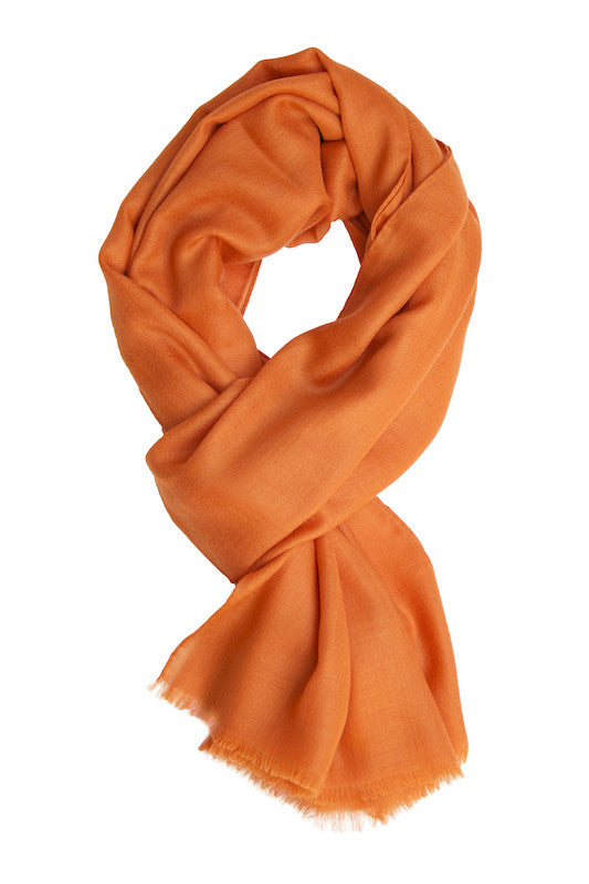 Double faced orange cashmere scarf