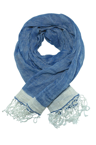 Exclusive linen blue scarf / shawl