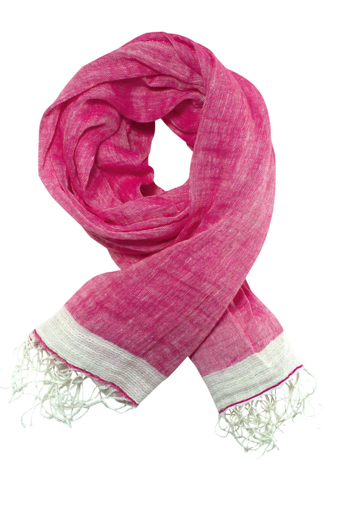 Exclusive pink scarf or shawl in linen