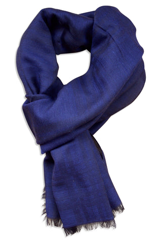 Navy blue scarf in silk and wool