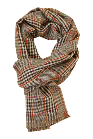 Chequed scarf in soft lambs wool with bordeaux