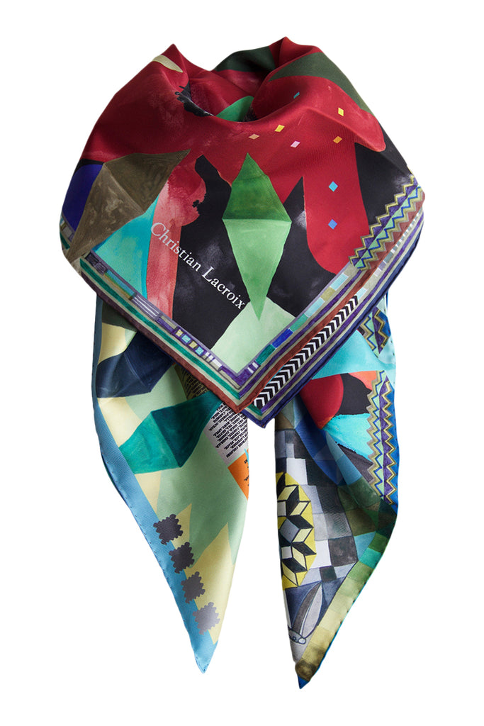 "Silk scarf ""Arlecchino"" Lacroix red / bordeaux"