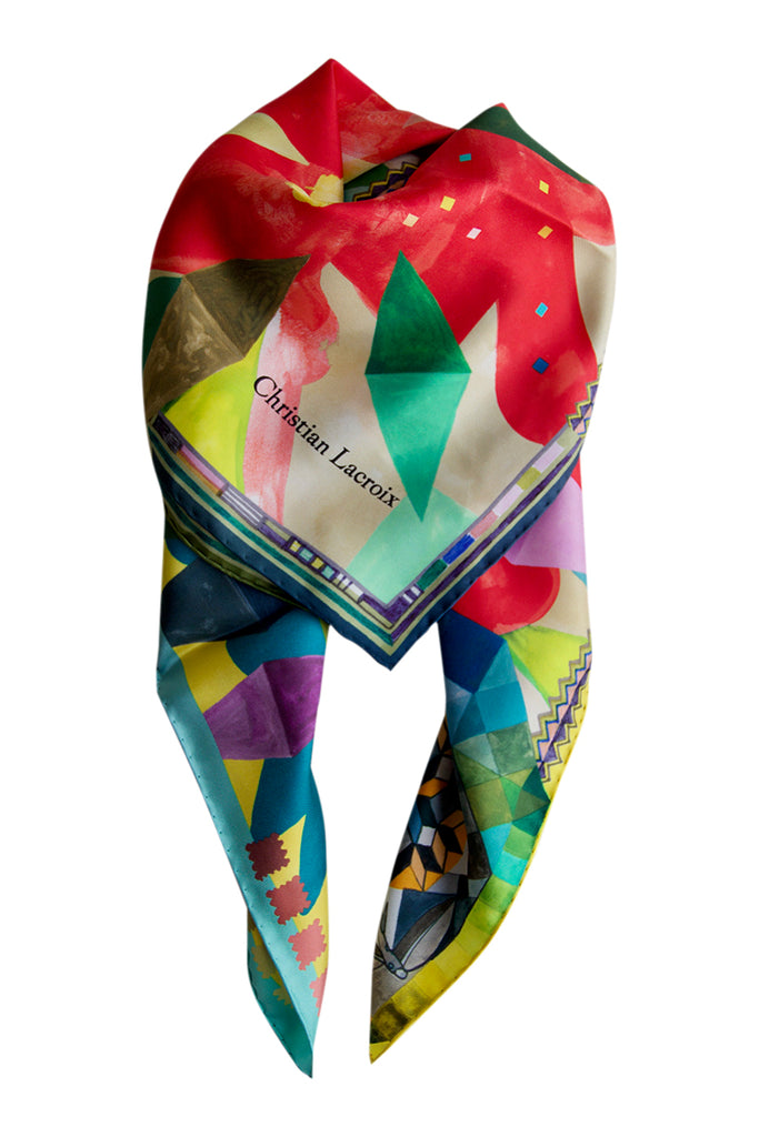 "Silk scarf ""Arlecchino"" Lacroix red"