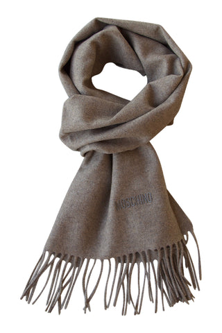 Merino wool scarf in beige melange from Moschino