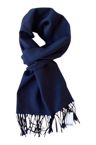 Navy blue merino wool scarf by Moschino