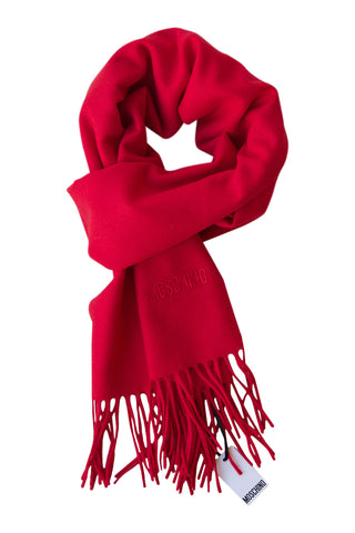 Classic red scarf in soft merino wool by Moschino