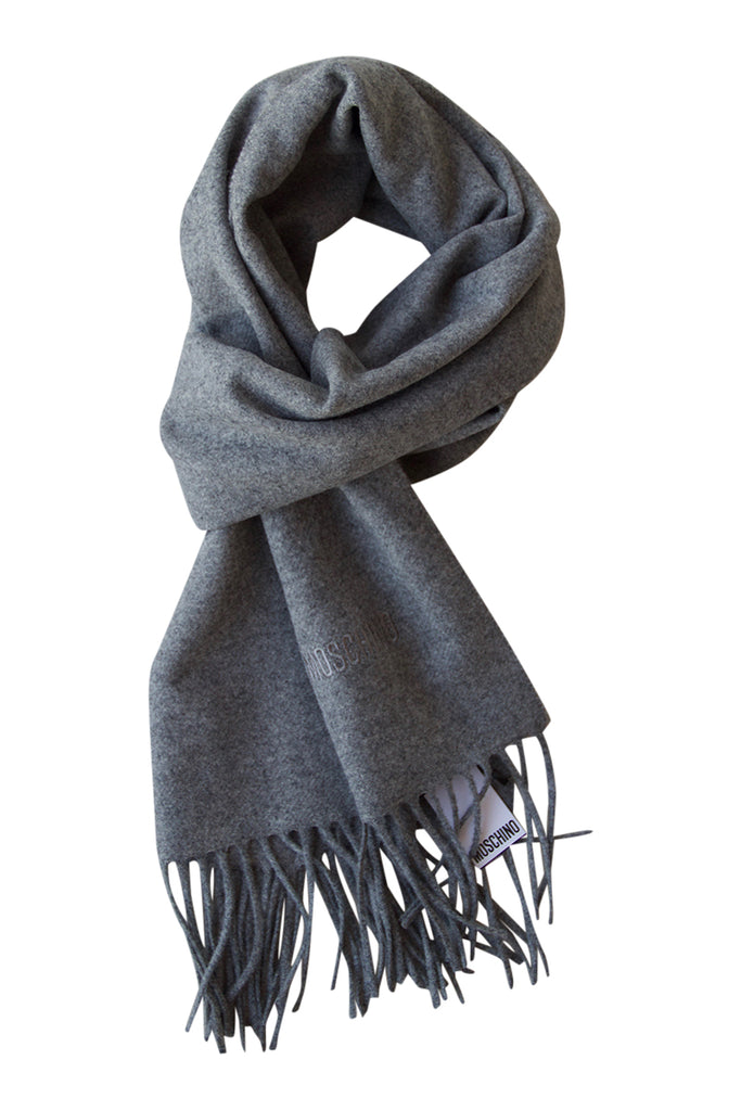 Grey soft unisex scarf in lambs wool by Moschino