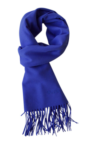 Bright blue merino wool scarf by Moschino