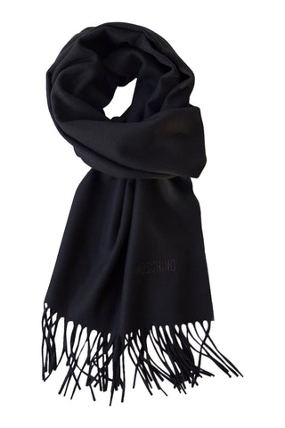 Classic black merino scarf from Moschino