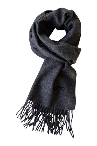 Dark grey merino wool scarf from Moschino