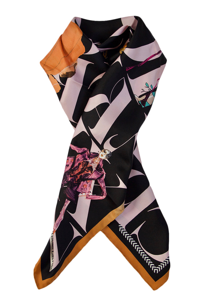 "Silk scarf ""Lacroix Parade"" black and rose"