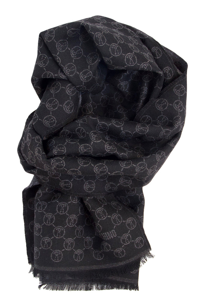 Soft wool scarf in grey and black Moschino