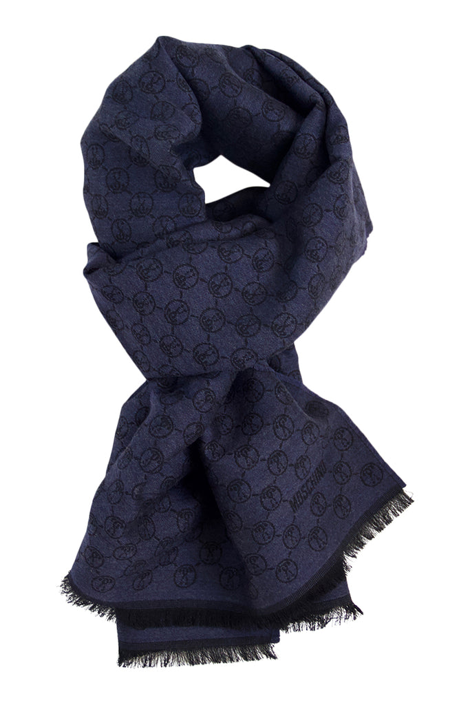 Wool scarf in dark blue and black fom Moschino