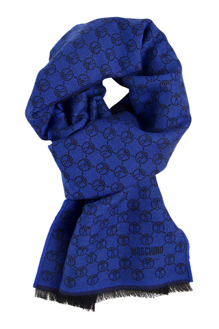 Wool scarf in bright blue and black Moschino