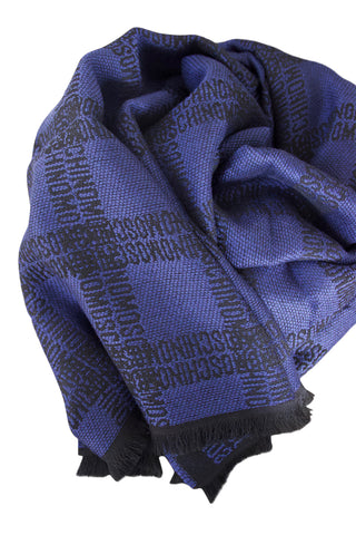 Blue wool scarf by Moschino