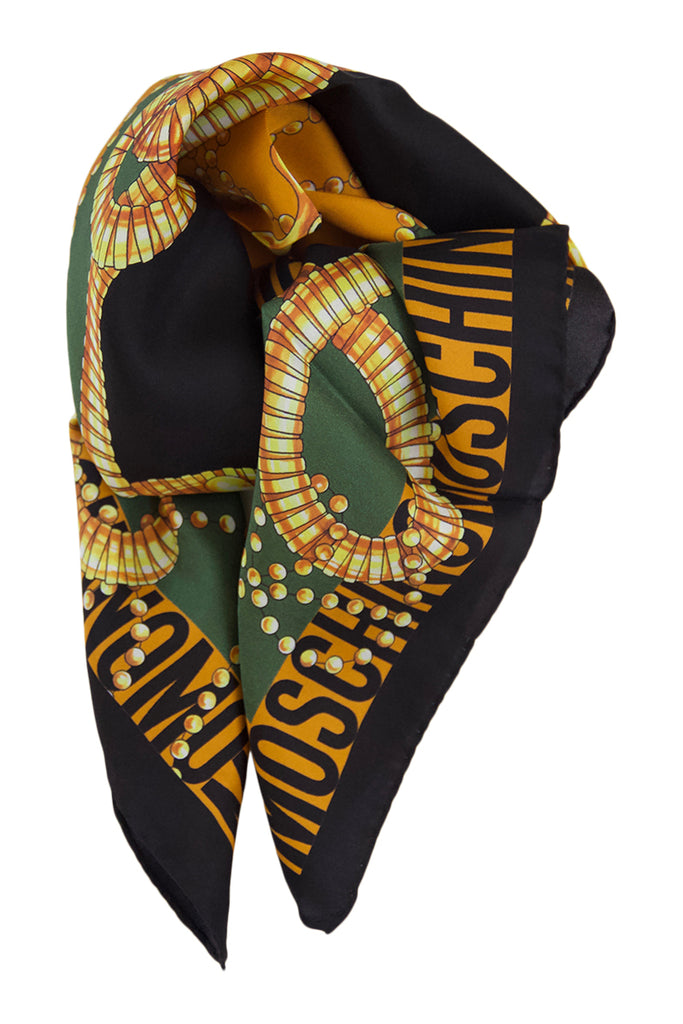 Green silk scarf Moschino