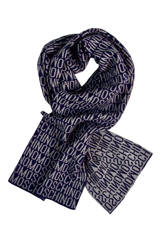 Classic blue wool scarf by Moschino