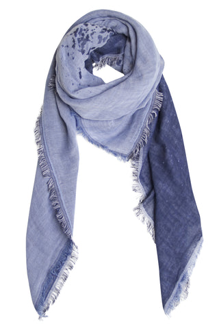 Indigo blue double-faced scarf in cotton