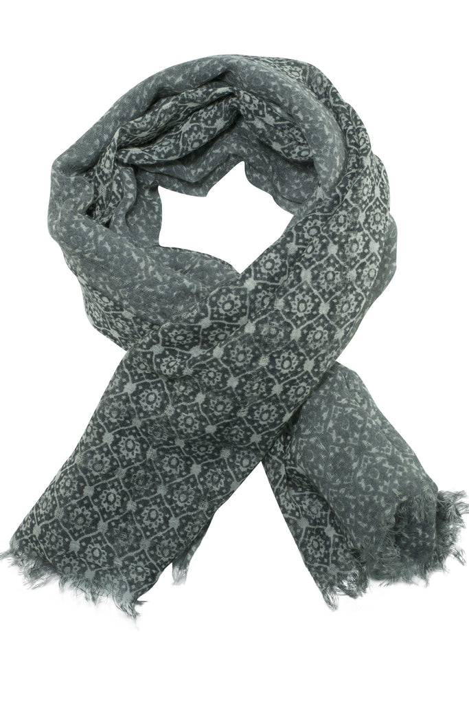 Delicate grey scarf / shawl in beautiful print