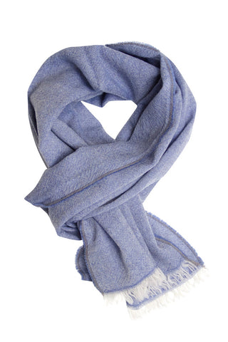 Light blue melange scarf in fine wool