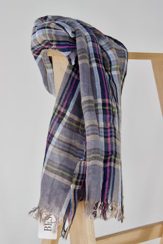Blue and grey checked scarf with fresh colours
