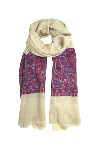 Pashmina scarf / shawl in beige, blue and ruby red