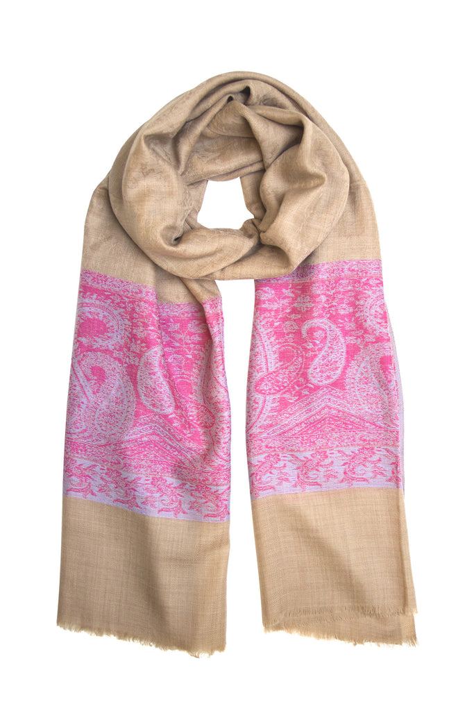 Pashmina scarf / shawl from Besos in camel and pink